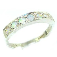 Solid English Sterling Silver Ladies Natural Fiery Opal Eternity Band Ring - Finger Sizes 5 to 12 Available