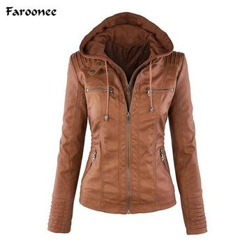 Faroonee Women's Faux Leather Jacket Coat Hoodies Hooded Lapel Zipper Detachable Jacket Coat for Female jaqueta de couro Q4326