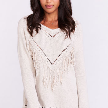 Frances Fringe Pullover Sweater ~ Oatmeal Knit