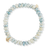 Sydney Evan 7mm White Corundum Beaded Bracelet wth Mini Bezel Eye Charm