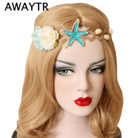AWAYTR Women Headband 2017 Hair Jewelry Handmade Lace Artificial Flowers Starfish Hemp Twine Nature Shell Hairbands