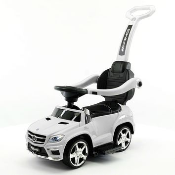 Mercedes GL63 Kids Convertible Ride On Push and Foot to Floor Car | White