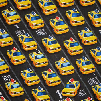 Yellow and Black City Taxi Print from Timeless Treasures--One Yard