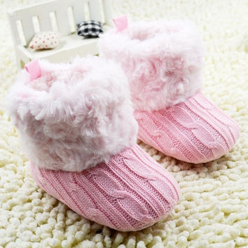 Baby Kid Knitted Fur Snow Boots 5 Color Toddlers Soft Sole Short Boots Shoes = 1932966084