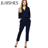 New Arrival Women Jumpsuits 2016 Spring/Autumn Bodysuit Half Sleeve V Neck Casual Style Elegant Ladies Long Romper Overalls