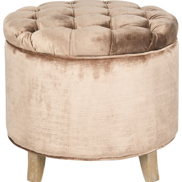Amelia Tufted Mink Brown Storage Ottoman
