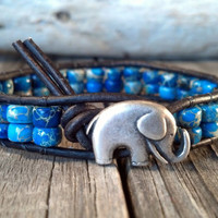 Good Luck Elephant, Aqua Terra, Leather Beaded Wrap Bracelet, Southwest chic