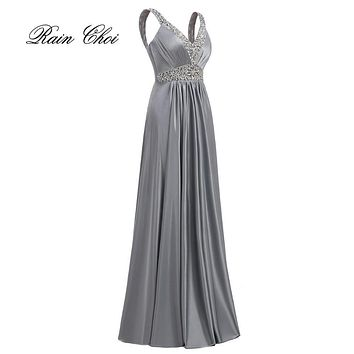 Long Evening Dresses 2017 Floor-length Sexy Elegant Formal Wedding Party Prom Gown