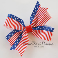 Pinwheel Hairbow, Striped Hairbow, Fourth of July, Red White Blue, Hair Bows, Hair Clips, Petite Bows, 3 Inch, Toddler Hairbow, Hairclip