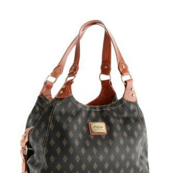 Patzino Signature Diamond Edition women's Black/Brown Designer Inspired Shopper Double Handle Hobo...