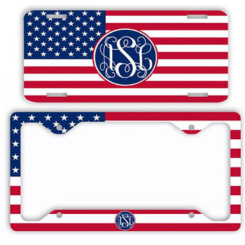 USA Flag American License Plate Car Tag Monogram Frame Personalized Set Custom Initials Car Coasters