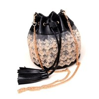 Chain Shoulder Strap Tassel Lace Crossbody Bucket Bag