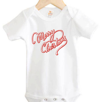 Merry Christmas Onesuit // Christmas baby Onesuit // Holiday greetings // Christmas baby clothing
