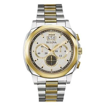 Bulova Marine Star 43mm Classic Chronograph Watch in Two-Tone Stainless Steel