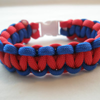 Blue And Red Paracord Survival Bracelet
