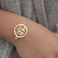 Gold Monogram Bracelet - Personalized circle Monogram letters Customized Gold circle Monogram Bracelet 3 Intial Gold Monogram wedding gift