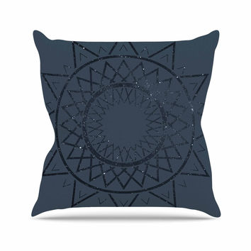 "Matt Eklund ""Lunar Sundial"" Blue Geometric Throw Pillow"