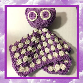 Free Shipping US ONLY | crocheted owl lovey | owl lovey | owl security blanket | lovey