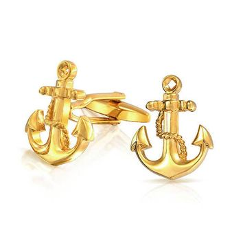 Nautical Anchor Rope Boater Sailor Shirt Cufflinks Gold Plated Steel