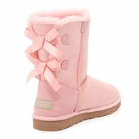 PEAP UGG:: bow leather boots boots in tube Pink