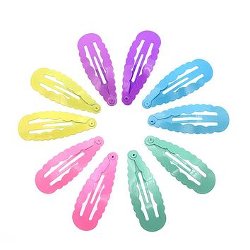 10 Pcs/Pack Wave Solid Candy Pastel Color Hair Clips Girls' Hairpin Kids Snap Hair Clips Accessories