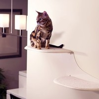 The Refined Feline Cat Clouds Cat Shelf - Off-White - Left