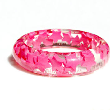 Pink Stars Bangle Bracelet - Hot Pink Dancing Stars Resin Glitter Modern Galaxy Funky Bright Neon Pop Hip Rocker by Mei Faith