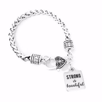 Strong Is Beautiful Inspirational Gift Best Friend Sister Mom Charm Bracelet