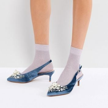 Essentiel Antwerp Pastis Heeled Shoes With Pearls at asos.com