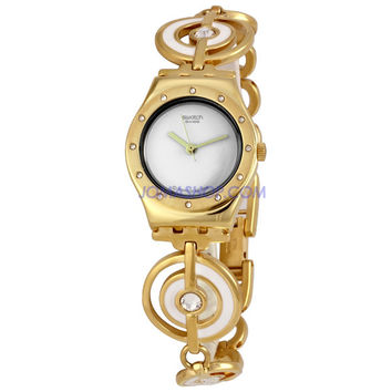 Swatch Irony Lady Lady Golden Waters White Dial Ladies Watch YSG128G