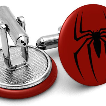 Spiderman Logo Red Cufflinks
