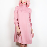 Vintage 1970s Dress Dusty Rose Pink Mini Dress Long Sleeve Shift Tent Dress Mod 70s Dress Classic Minimalist Shirt Dress XS S Small M Medium