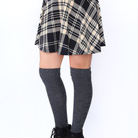 Sugar Plaid Skater Skirt - Ivory