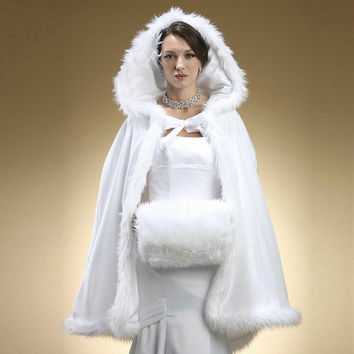 Free Shipping 2016 Hot Sale Winter Bridal wrap Perfect Hooded with Faux Fur Trim Short for Bride Winter Wedding Cloak Cape