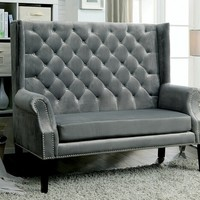 Shayla collection mid-century style high back wing chair love seat with gray flannelette fabric
