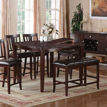 Poundex F2329-1167-1168 6 pc barista ii collection dark rosy brown wood finish counter height dining table with chairs and bench