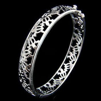 STERLING SILVER 925 HAWAIIAN PETRO HONU SEA TURTLE HINGE OPEN BANGLE BRACELET