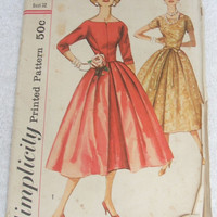 Sewing Pattern Vintage Simplicity 2230 Jr Miss Misses One Piece Dress Uncut Size 12 Bust 32 Printed Pattern DIY Clothing Fashion Design