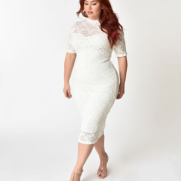 Plus Size White Floral Lace Sleeved Wiggle Dress