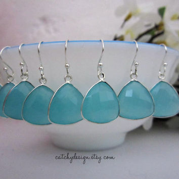Tiffany Blue Earrings,Bridesmaid Earrings,Tiffany Blue Wedding,Silver Earrings, Bridesmaid Jewelry, Bridesmaid gift,set of 4,5,6,7,8,9,10