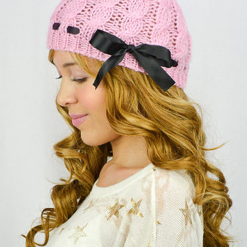 Pink Knitted Beanie For Women Pink Beanie Pink hat Pink Crochet Beanie Bow Pink Knit Beanie Bow Women's Hair Accessory Fall Hats Winter hat