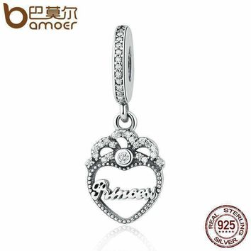 BAMOER Genuine 925 Sterling Silver Princess Crown Heart, Clear CZ Pendant Charms fit Bracelet Fashion Jewelry PSC015