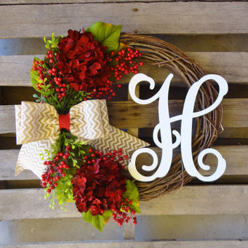 Christmas Wreath,Monogram Wreath,Grapevine Wreath, Hydrangea Wreath, Vine Monogram,Xmas,Christmas Decor, Door Hanger, Holiday Wreath
