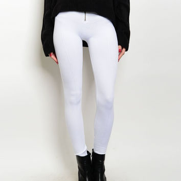 Zip Up High Waist Thick Fleece Leggings in White