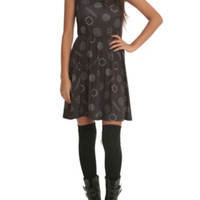 Supernatural Symbols Print Skater Dress