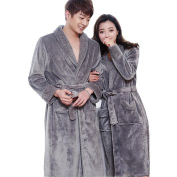 New Style Lovers Silk Soft Flannel Long Kimono Bath Robe Men Waffle Winter Bathrobe Mens Robes Dressing Gown Nightgowns for Male