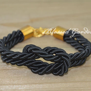 bracelet,sailor knot bracelet, navy bracelet,black bracelet,nautical bracelet, god's gift,bridesmaid bracelet,blessed garden