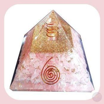 Rose Quartz & Orgone  Spiral Pyramid - 70mm