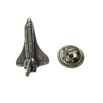 Silver Toned Textured Rocket Space Ship Lapel Pin