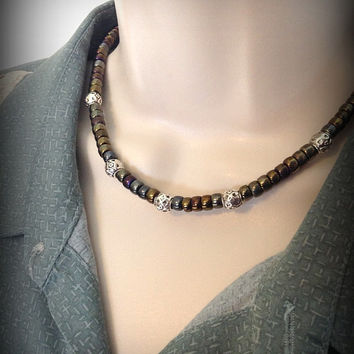 Men's Czech beaded necklace, Gift for Him, Men's Jewelry, Beaded Jewelry, Multi color necklace, Man's necklace, Unisex necklace